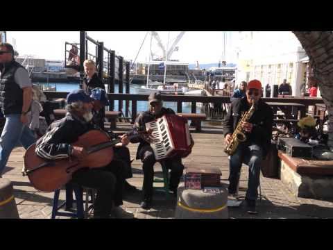Local South African musicians playing at the V&A Waterfront in Cape Town.