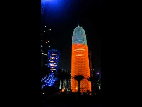 Qatar corniche building lighting.