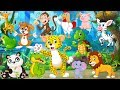 Learning Wild Animals Names and Sounds for kids - With Cartoon characters for kids