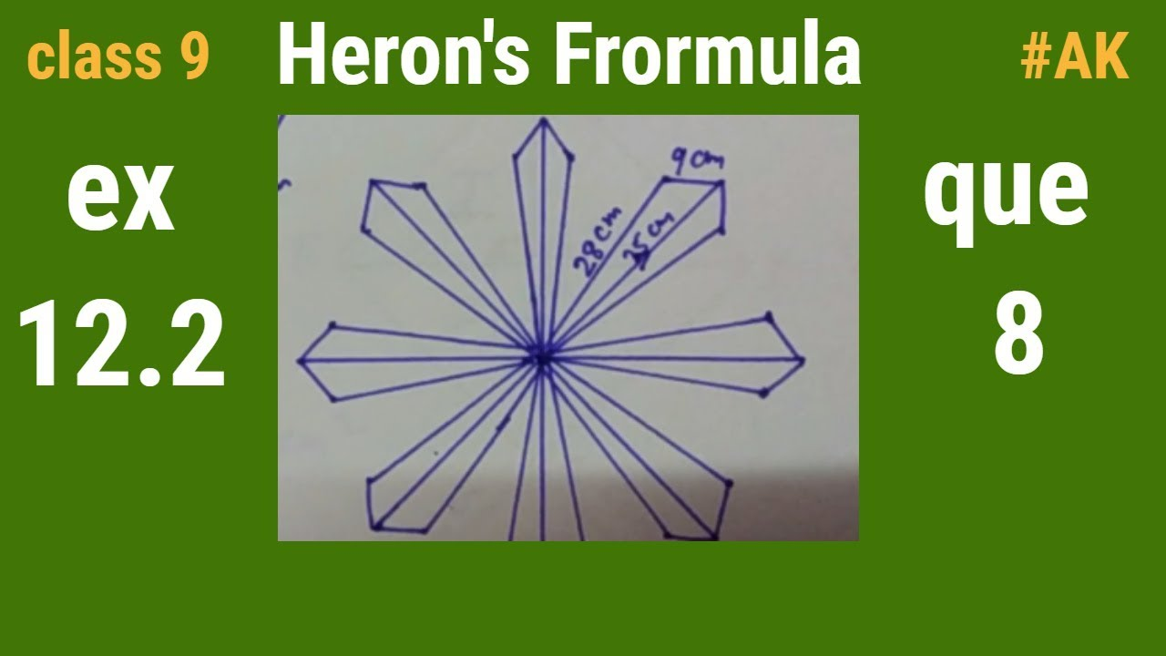 ex 12 2 maths class 9 heron's formula in hindi question 8