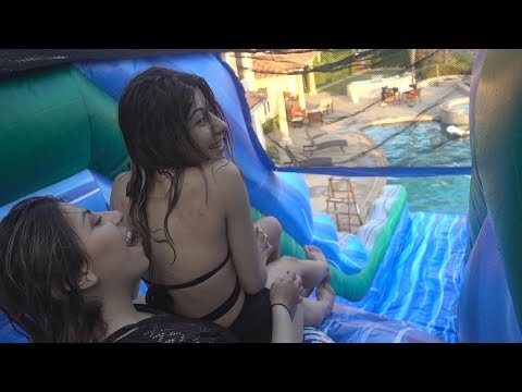 THIS DIDN'T END WELL!! (GIANT WATER SLIDE FROM THE ROOF)