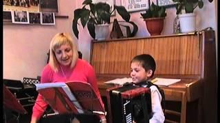 Відкритий урок по баяну з учнем 1-го класу Константином Богданом.