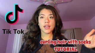 curling hair with socks TUTORIAL!!/tiktok trend