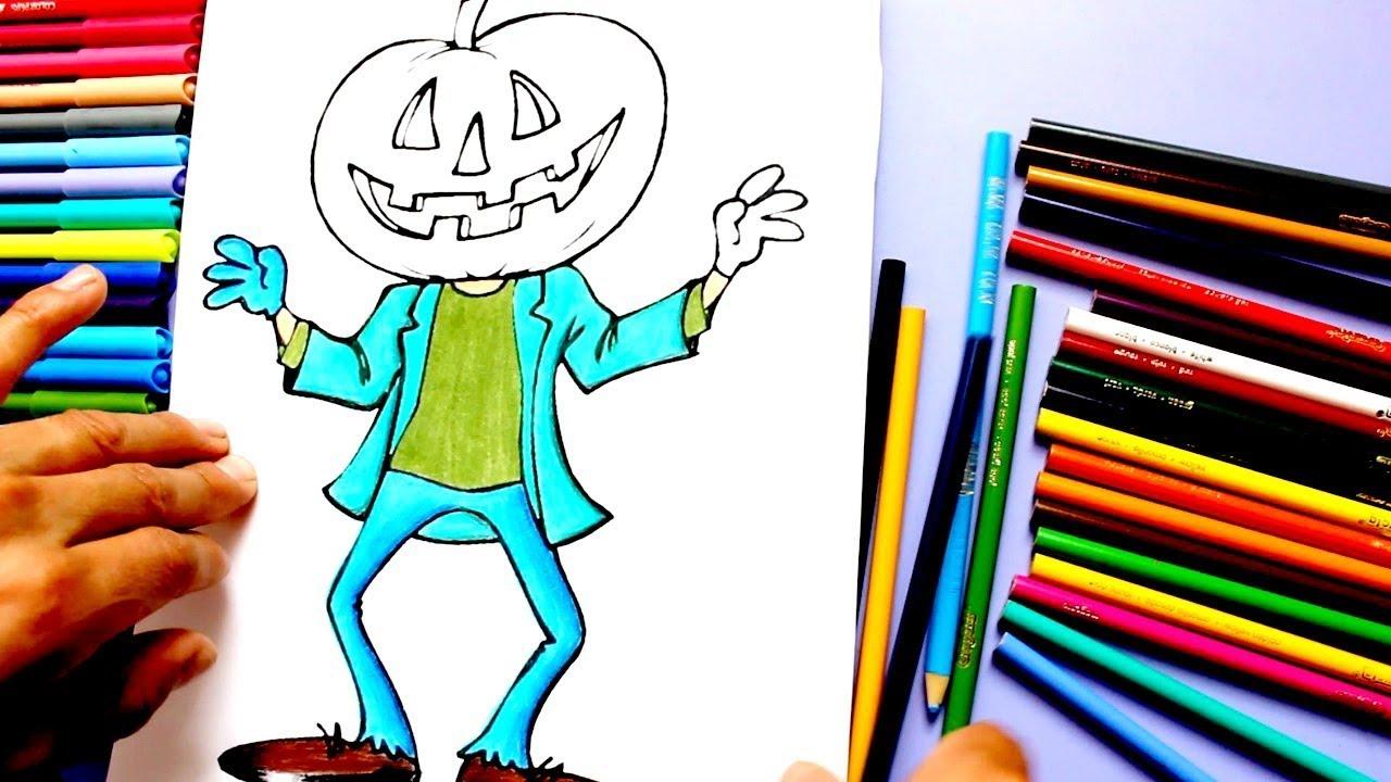 Aprende A Colorear/Dibujar A Hombre Cabeza De Calabaza/Halloween ...