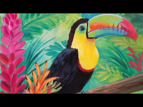 Acrylic Painting Rainbow TOUCAN Live Step by Step JUNGLE Tutorial #Angelooney