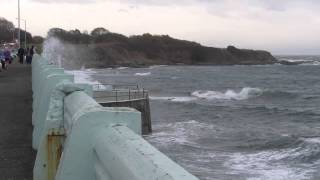 Stormy day at Ogden Point by the Breakwater, along Dallas Road in Victoria BC (Vancouver Island)