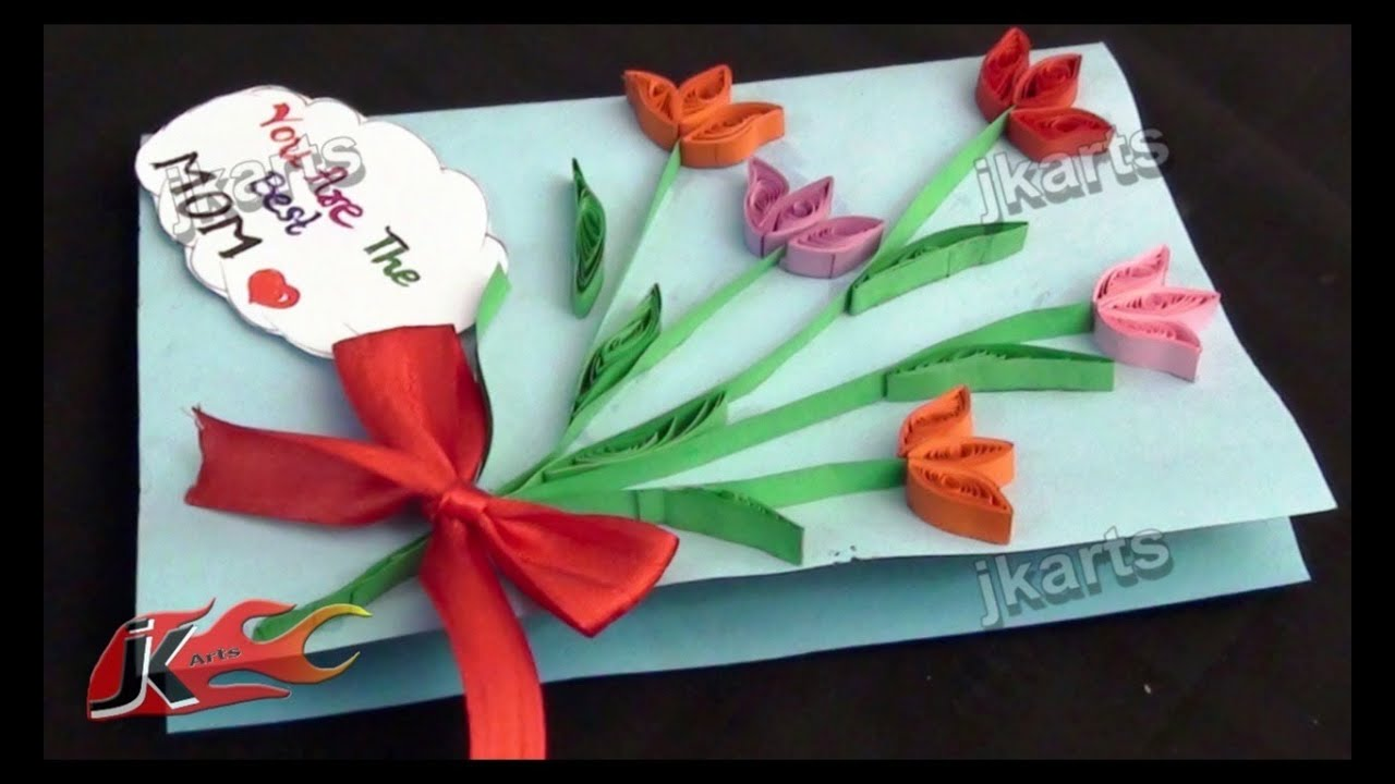 Diy paper quilling greeting card for mother   day teacher jk arts youtube also rh