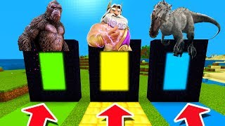 Minecraft PE : DO NOT CHOOSE THE WRONG DIMENSION! (King Kong, Zeus & Indominus rex)