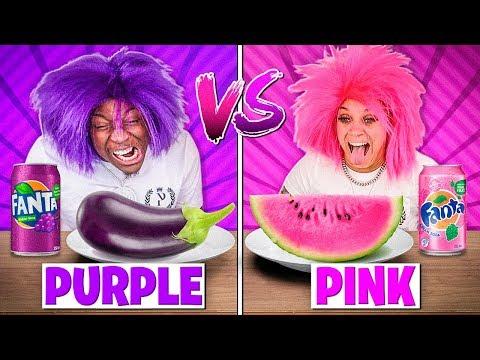 PURPLE FOOD VS PINK FOOD CHALLENGE