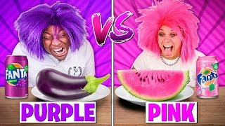 PURPLE FOOD VS PINK FOOD CHALLENGE