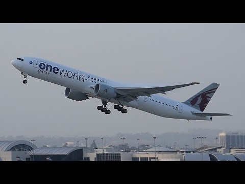 "Qatar Airways ""Oneworld"" Boeing 777-300ER [A7-BAG] Departing LAX."