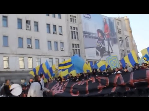 Ukraine War - Football fans sing Putin Khuilo in Kharkiv Ukraine