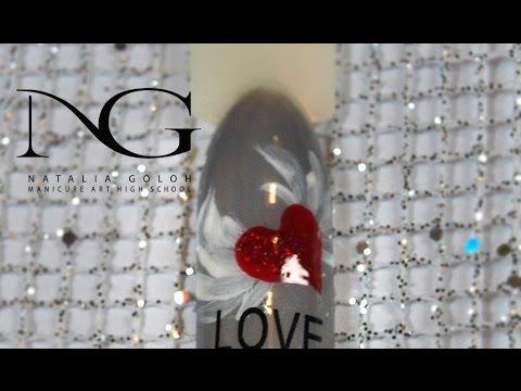 Порхающее сердце: дизайн ногтей на День влюбленных / Nail art heart