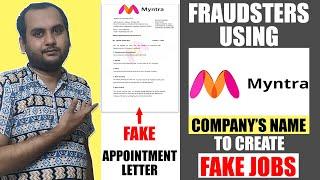 Fraudsters using Myntra Company's name to create FAKE JOBS | Myntra FAKE JOBS