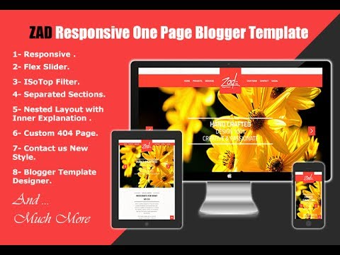 Onepage Blogger Templates ZAD Responsive One Page Blogger Template Installation By Ar themes - YouTube