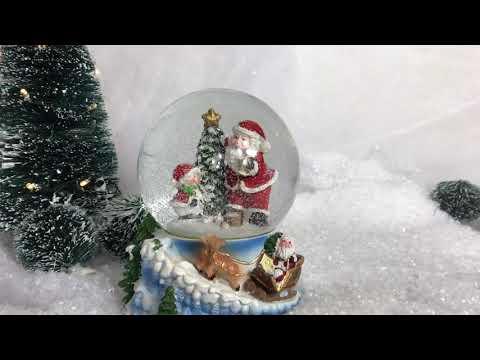 Santa and Snowman Musical Christmas Snowglobe