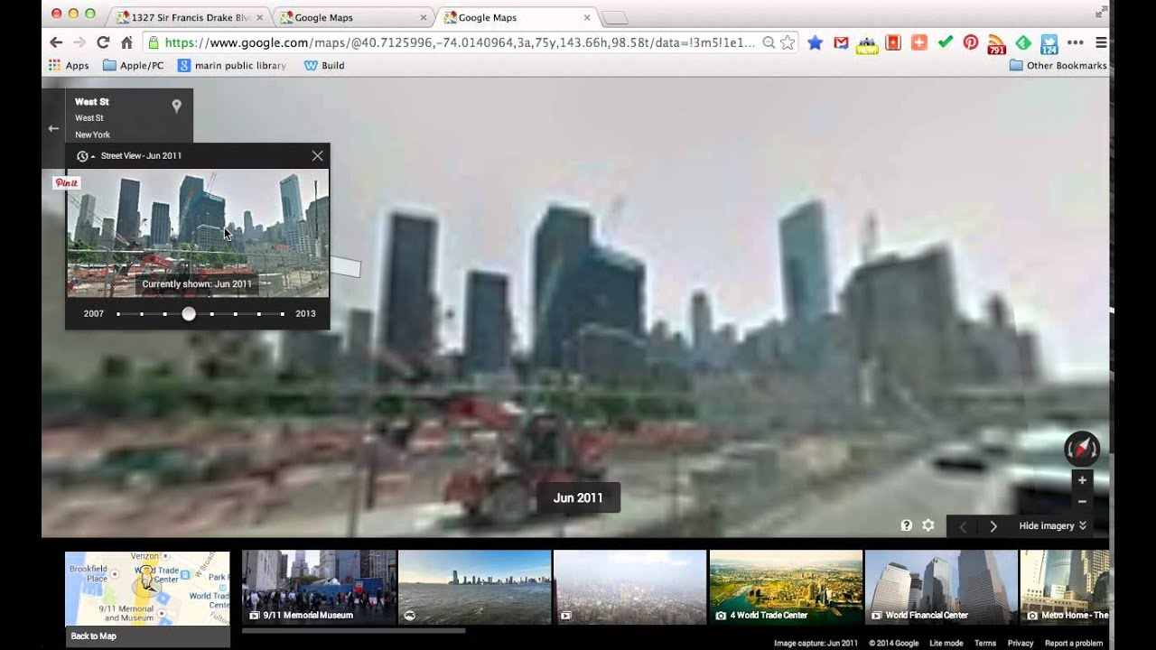 google maps using the street view time machine