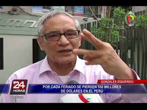 Gonz�lez Izquierdo: Por cada feriado se pierde 550 millones de d�lares
