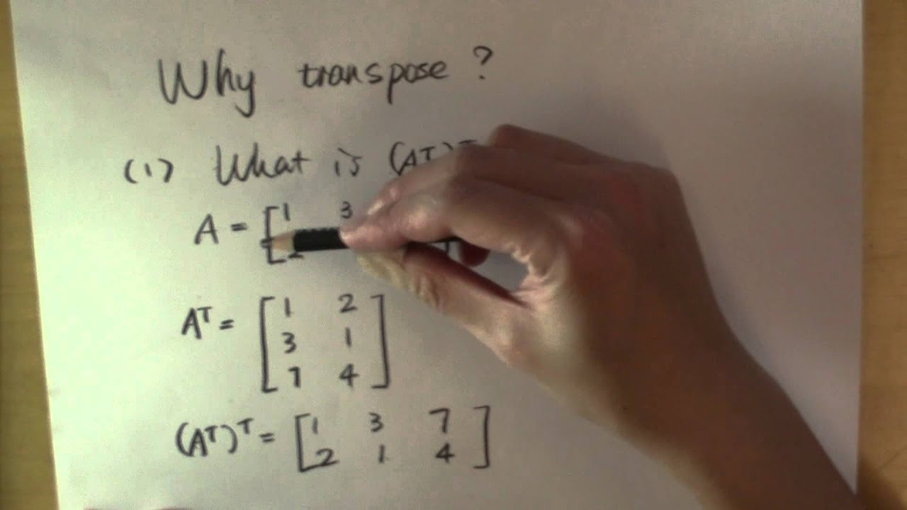 Why Transpose A Matrix Part 1 The Transpose Of A Transpose Youtube