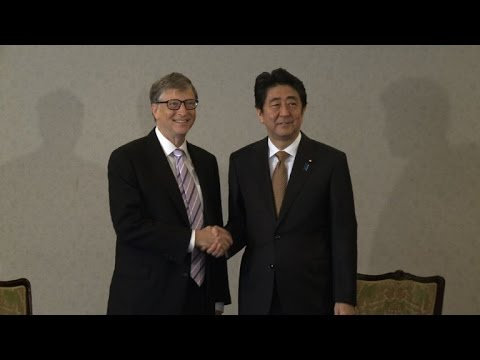 Bill Gates meets Japanese PM Shinzo Abe