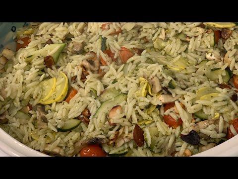 Zucchini Mushroom Orzo with Pesto and Almonds