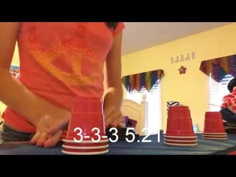 Red Mini Solo Cup Stacking!