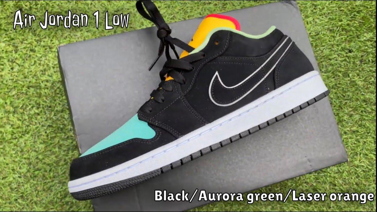 CLOSE LOOK AIR JORDAN 1 LOW BLACK/AURORA GREEN/LASER ORANGE - Plus on feet!!