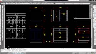 Base cabinet with cut list using table inside of AutoCAD