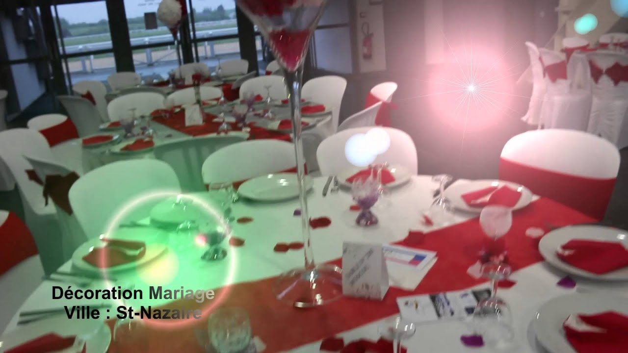 Abm d coration th me mariage rouge et blanc youtube for Deco table argent et blanc