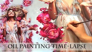 "OIL PAINTING TIME LAPSE || ""Blossom Rain"" 