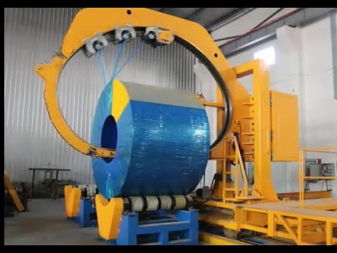 Big coil packing machine shows how to packing the mother steel coil