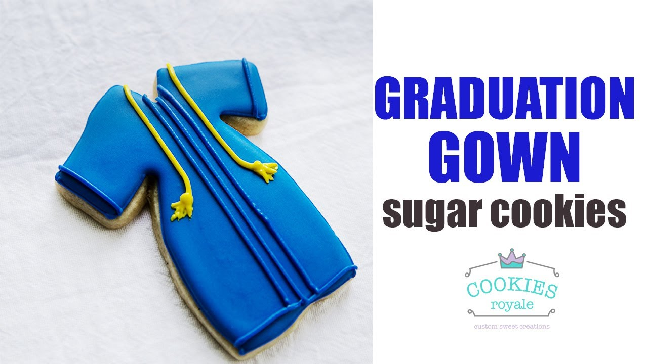 How to decorate Graduation Gown Sugar Cookies with Royal Icing - YouTube