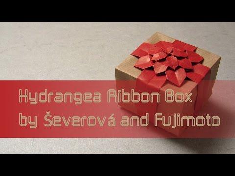Origami Tutorial: Hydrangea Ribbon Box (Dáša Ševerová and Shuzo Fujimoto)