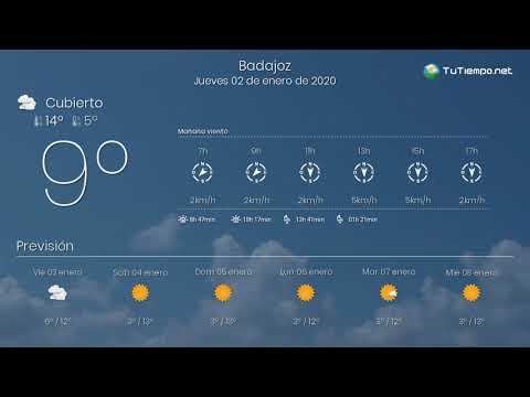El tiempo en Badajoz. Jueves 02 de enero de 2020.