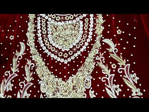 Latest bridal frock | Embroidery on velvet | Beautiful embroidery design for dress ideas | HD video
