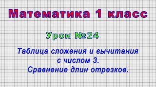 Математика 1 класс (Урок№24 - Таблица сложения и вычитания с числом 3. Сравнение длин отрезков.)