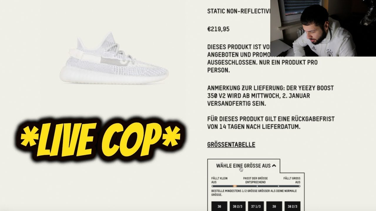 4e11693fd LIVE COP  ADIDAS YEEZY 350 BOOST V2 STATIC NON- REFLECTIVE - YouTube