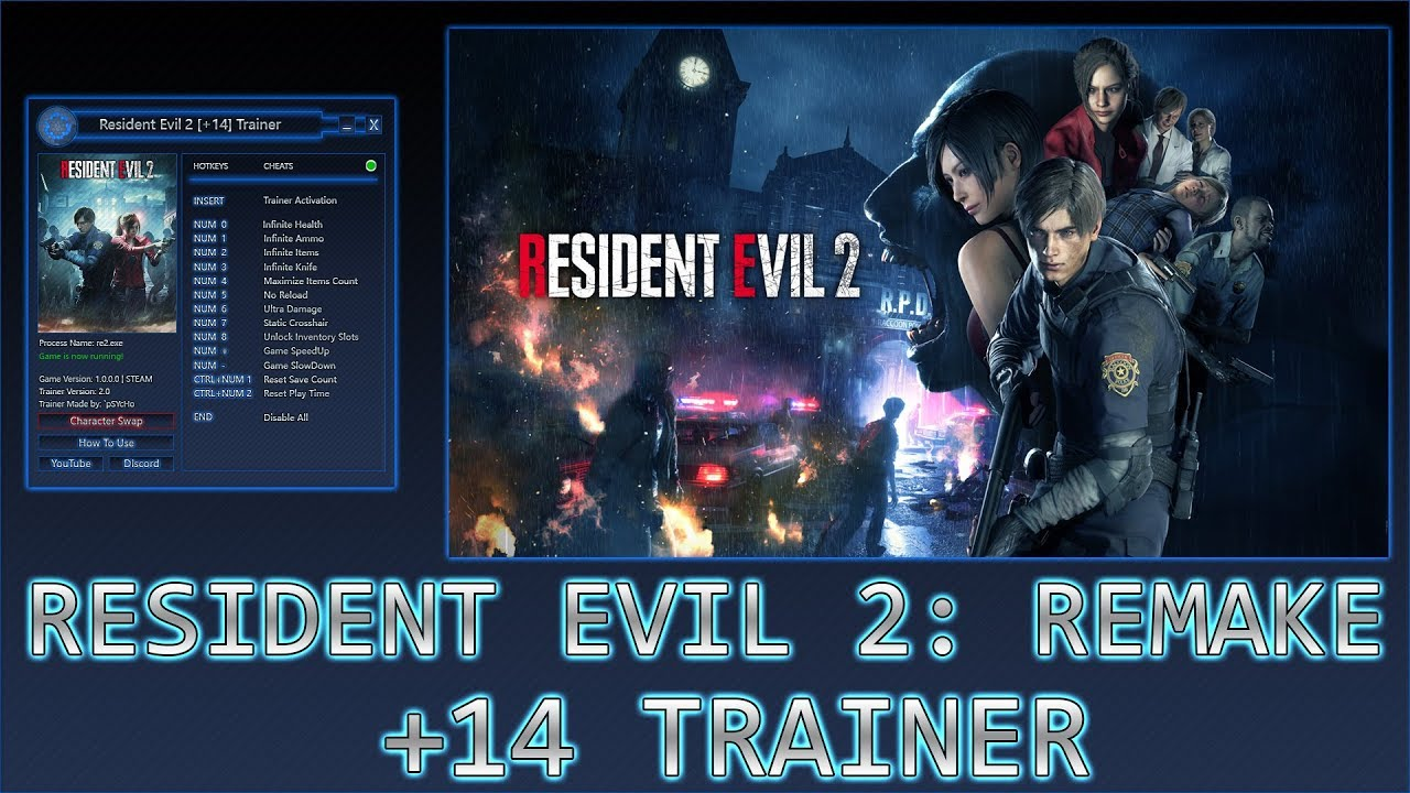 Resident Evil™ 2 [+14 Trainer + Character Swap] v2 2 by `pSYcHo [ ✔ Free  Download]