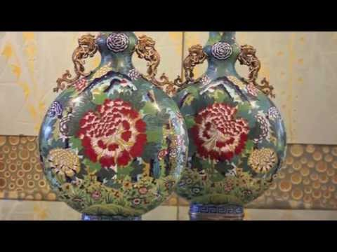 Spectacular Pair of Cloisonné Moon Flasks, China 18th Century