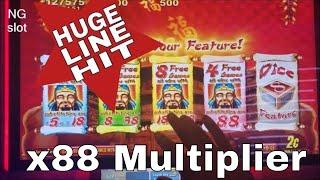 Lucky 88 Slot Machine 3 Bonuses and  💲💲 BIG WIN 💲💲  LINE HIT x88 Multiplier !! LIVE SLOT PLAY