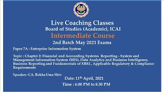 Intermediate Paper 7A: EIS - Topic:Ch-2: Financial and Accounting..,Evening session Date:11-04-2021