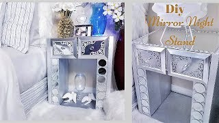Diy Mirror Night Stand Made with Shoe Boxes|Recycle Hack!