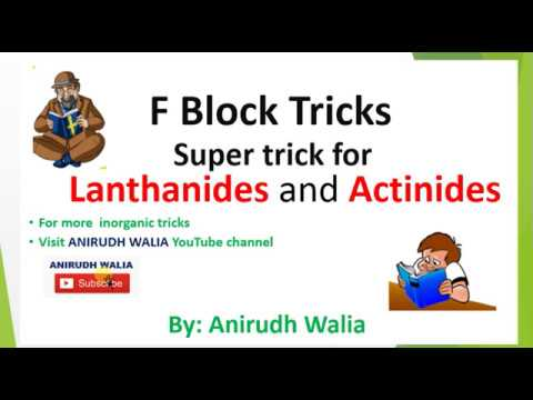F Block Tricks || F Block Revision || Inorganic Tricks || Lanthanides Tricks || Actinides |F Block