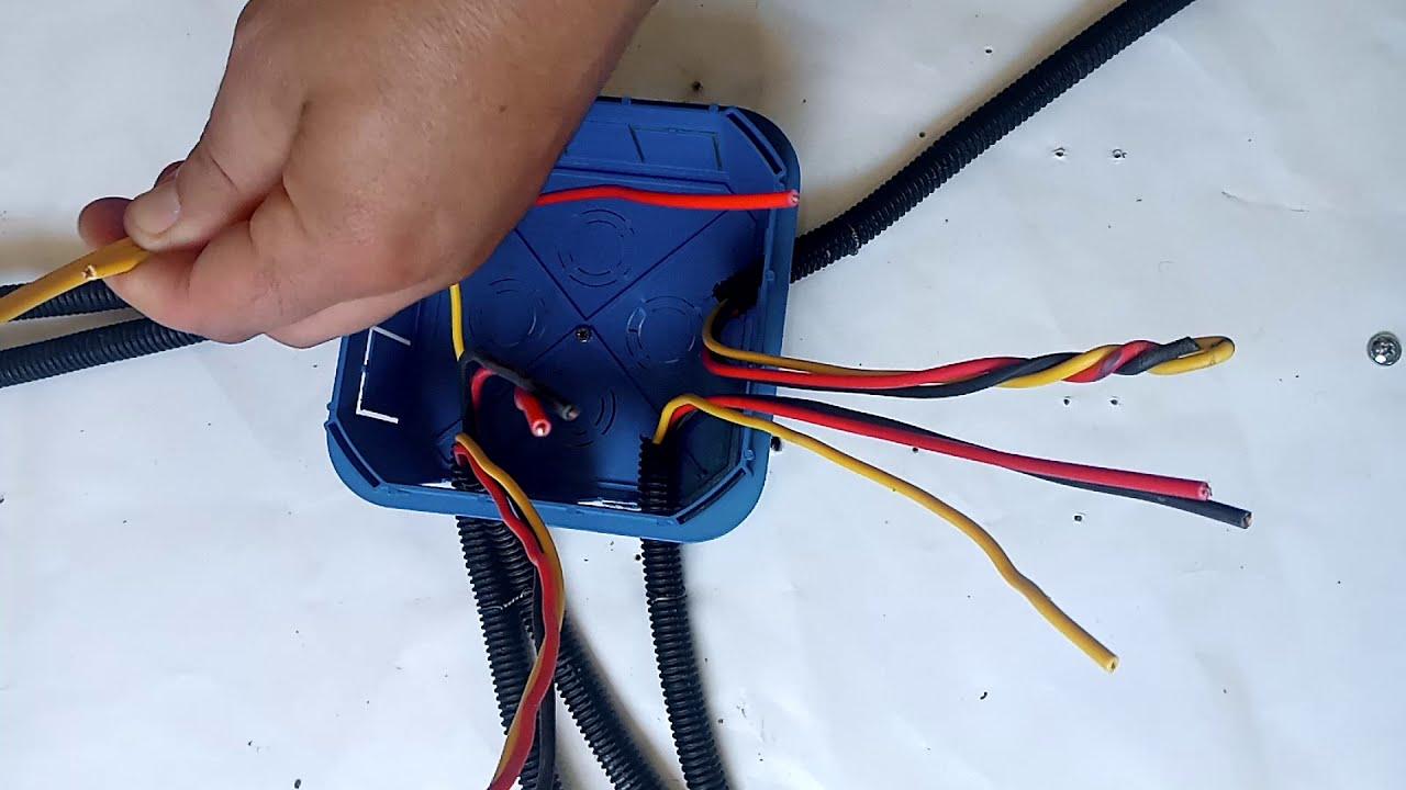 Méthode de branchement sur une boite de dérivation توصيل الاسلاك الكهربائية في علبة التفرع.