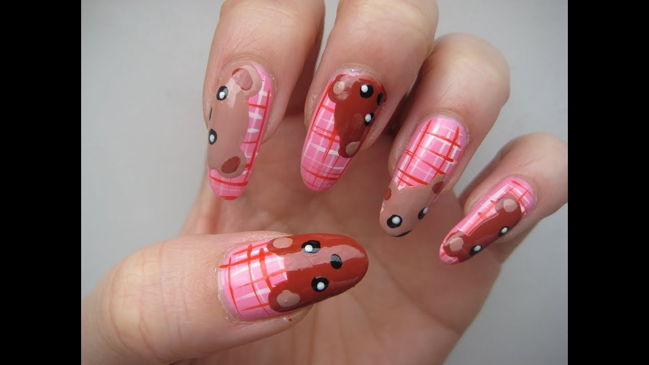 cute bear family nail art - YouTube