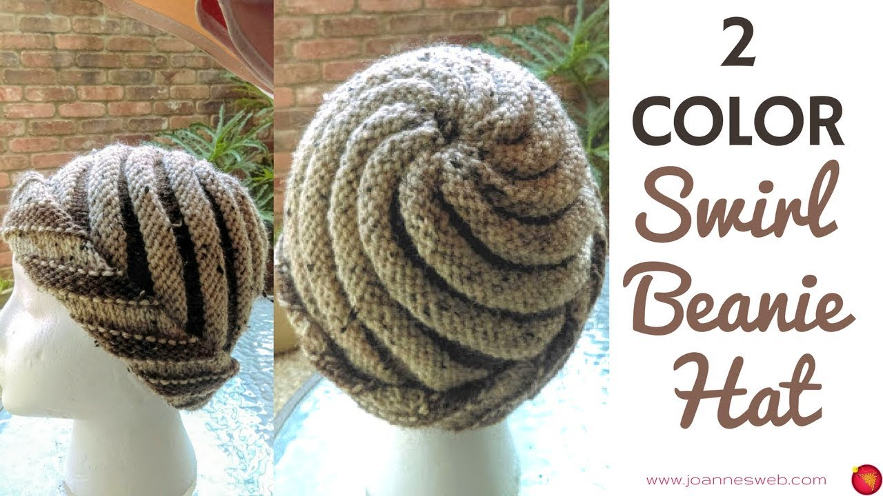 Two Color Swirl Hat Knitted Swirl Hat Spiral Beanie 2 Colors