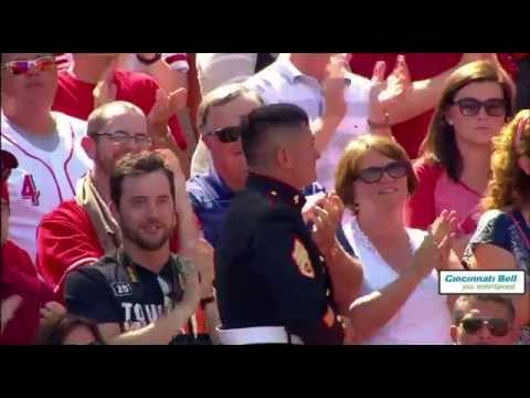 The Saluting Marine As Cincinnati Reds Hometown Hero Sponsored by Attorney Anthony Castelli