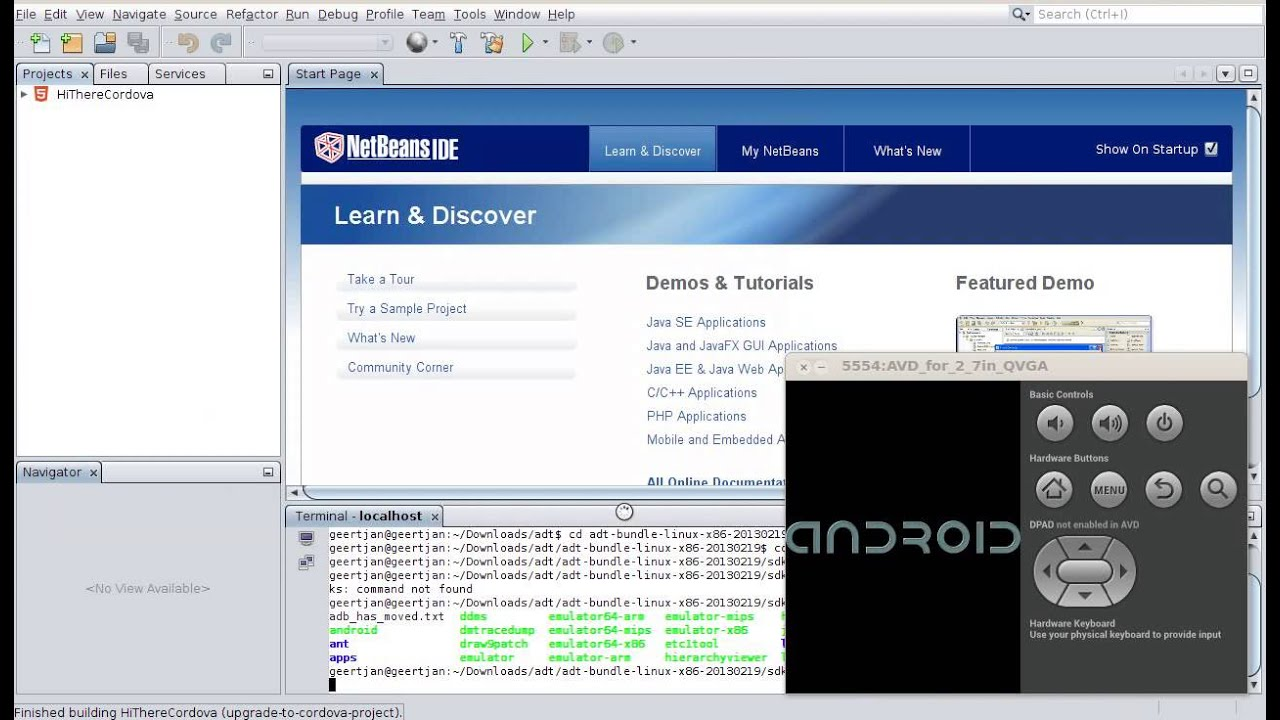 netbeans cordova please run android emulator