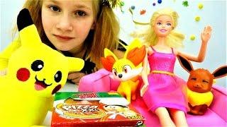 Кукла Барби на новогодней вечеринке с Покемонами. Мультики для детей