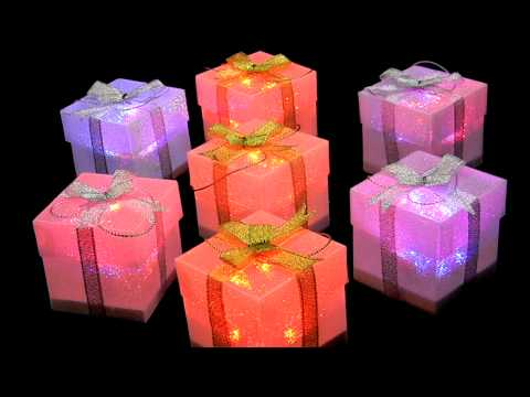 LED Color Changing Gift Boxes, Gold/Silver Ribbon